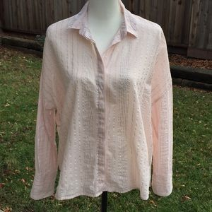A New Day Pink Stripe Sheer Blouse Size M